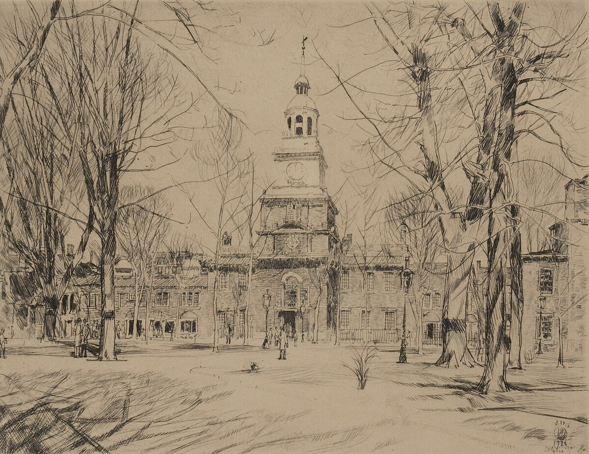 Etching and engraving of Independence Hall in 1926 by Childe Hassam.