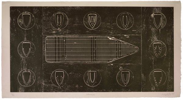 Cole created this monumental print by embedding the perforated surface of an ironing board and twelve iron faceplates into a plywood sheet, flush to its surface. He then applied black ink to the whole and transferred the resulting image onto a sheet of white kozo-shi paper. The silhouetted image of the ironing board's surface resembles a historic slave-ship diagram, and the faceplate designs recall the facial scarification patterns worn by some tribal Africans.