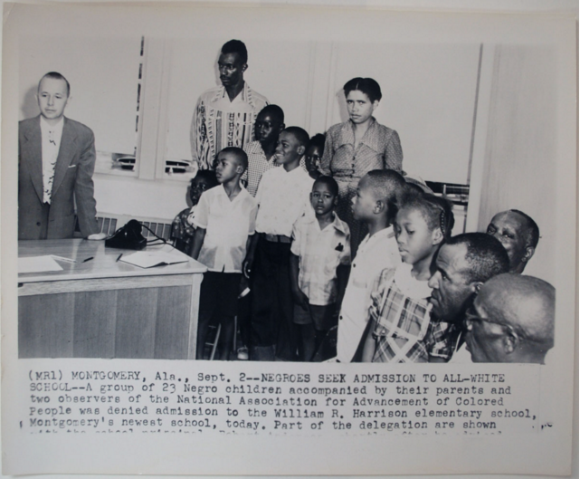 Unknown photographer, Montgomery, Alabama—Negroes Seek Admission to All-White School, 1954, gelatin silver print, Museum purchase 2011.51