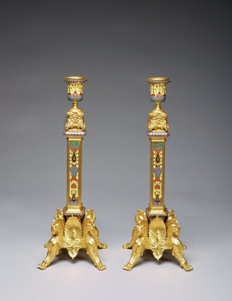 Pair of Candlesticks, France, 1872, gilt bronze and cloisonné enam - el, Bronze caster: Ferdinand Barbedienne, France, 1810–1892; Decorator: Louis-Constant Sévin, France, 1821–1888; Chaser: Désiré Attarge, France, about 1820–1878; Museum purchase with funds provided by Mr. and Mrs. Chester Huck, by exchange 2017.37.1-.2