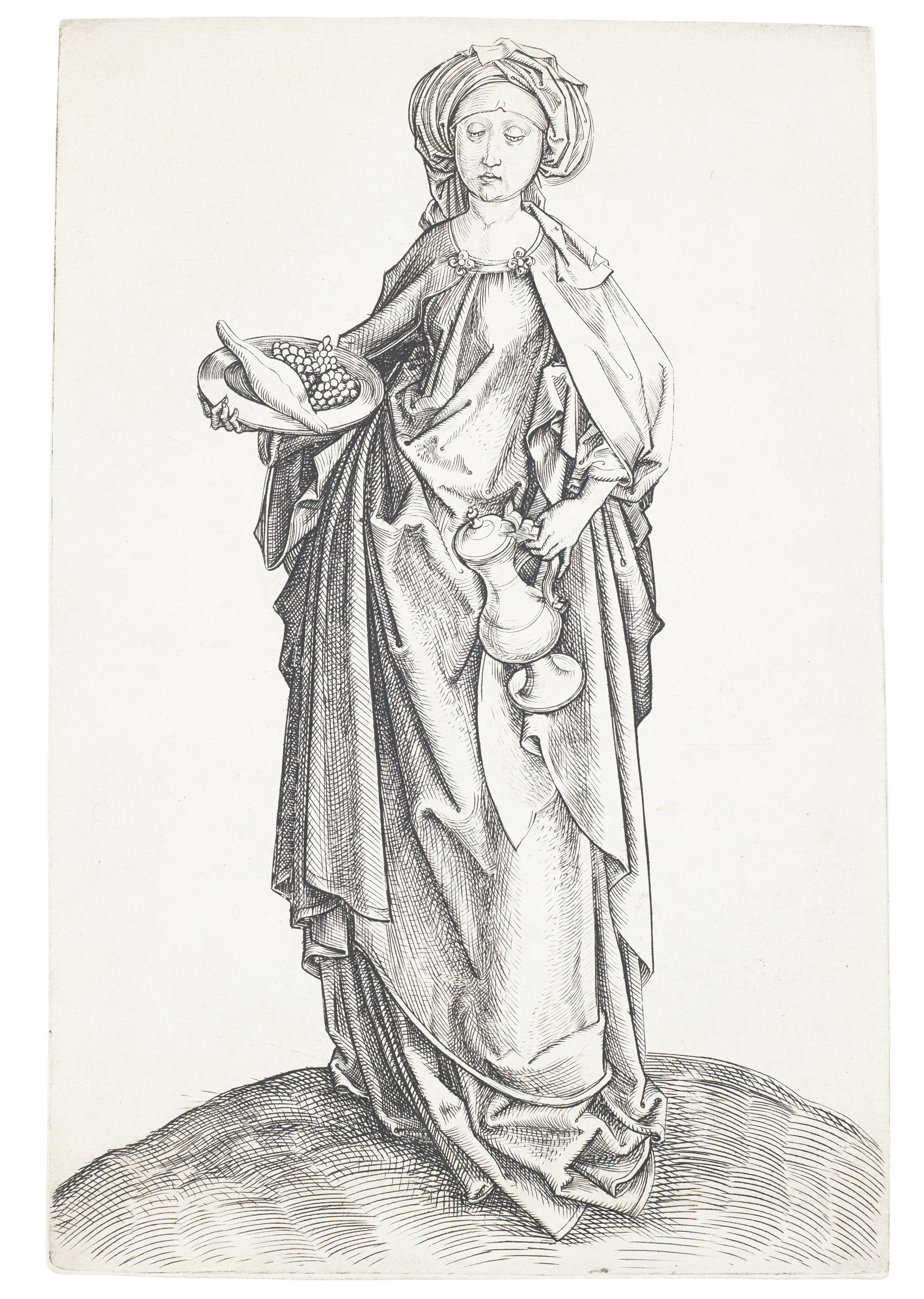 St. Elizabeth is shown carrying a ewer and a platter with grapes and bread to give food and drink to the poor.